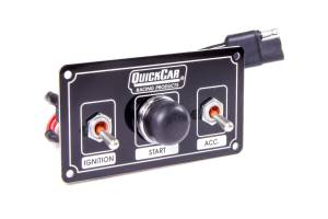 QUICKCAR RACING PRODUCTS #50-820 Ignition Panel Black w/ Weatherproof Switches