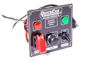 QUICKCAR RACING PRODUCTS #50-823 Ignition Panel Black w/ 2 Acc. & Lights