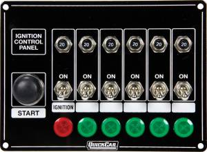 QUICKCAR RACING PRODUCTS #50-869 Ignition Panel w/Start But. 5 Acc. Circut Brkr