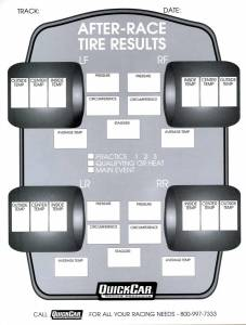 QUICKCAR RACING PRODUCTS #51-215 After Race Tire Set-Up Forms (50 PK)