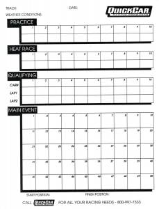 QUICKCAR RACING PRODUCTS #51-230 Time Organizer Sheets 50 Lap