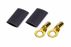 QUICKCAR RACING PRODUCTS #57-481 Ring Terminal 1/4 8 GA. Pair w/Heat Shrink