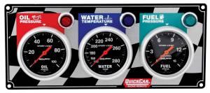 QUICKCAR RACING PRODUCTS #61-0211 3 Gauge Panel OP/WT/FP Sport Comp.
