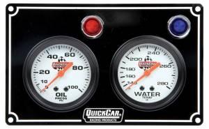 QUICKCAR RACING PRODUCTS #61-6701 2 Gauge Panel  OP/WT Black