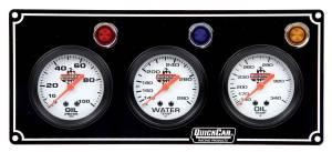 QUICKCAR RACING PRODUCTS #61-6711 3 Gauge Panel  OP/WT/OT Black