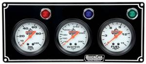 QUICKCAR RACING PRODUCTS #61-6712 3 Gauge Panel  OP/WT/FP Black