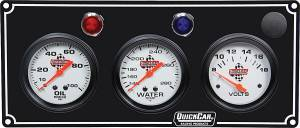 QUICKCAR RACING PRODUCTS #61-6717 3 Gauge Panel OP/WT/Volt Black