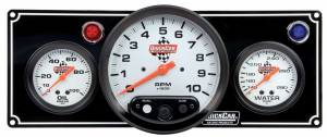 QUICKCAR RACING PRODUCTS #61-6731 2-1 Gauge Panel OP/WT w/ 5in Tach Black