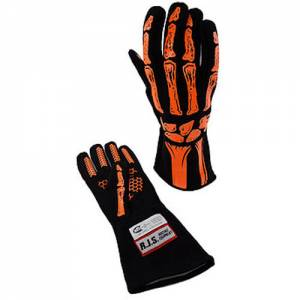 RJS SAFETY #600090154 Double Layer Orange Skeleton Gloves Large