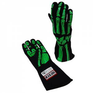 RJS SAFETY #600090159 Double Layer Lime Green Skeleton Gloves X-Large