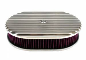 RACING POWER CO-PACKAGED #R6314 Pol Alum 12X2 All Finned Air Cleaner Kit Washable