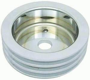 RACING POWER CO-PACKAGED #R8849POL Polished Alum BBC Triple Groove Crank Pulley SWP