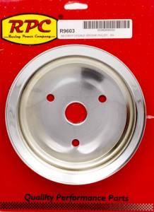RACING POWER CO-PACKAGED #R9603 SBC 2GROOVE CRANK PULLEY SHORT PUMP CHROME