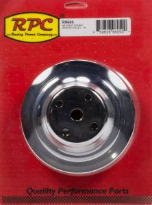 RACING POWER CO-PACKAGED #R9605 Chrome Steel Water Pump Pulley 2groove Long WP