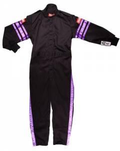 RACEQUIP SAFEQUIP #1950592 Black Suit Single Layer Kids Small Purple Trim