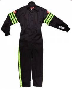 RACEQUIP SAFEQUIP #1950795 Black Suit Single Layer Kids Large Green Trim