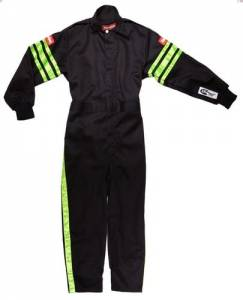 RACEQUIP SAFEQUIP #1950797 Black Suit Single Layer Kids XX-Large Green Trim