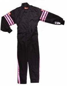 RACEQUIP SAFEQUIP #1950892 Black Suit Single Layer Kids Small Pink Trim