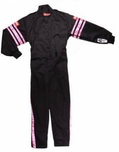 RACEQUIP SAFEQUIP #1950896 Black Suit Single Layer Kids X-Large Pink Trim