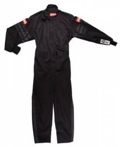 RACEQUIP SAFEQUIP #1959996 Black Suit Single Layer Kids X-Large Black Trim