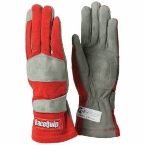 RACEQUIP SAFEQUIP #351015 Gloves Single Layer Large Red SFI
