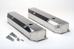 TRANS-DAPT #1052 BBM Fabricated Alum Valve Covers Polished