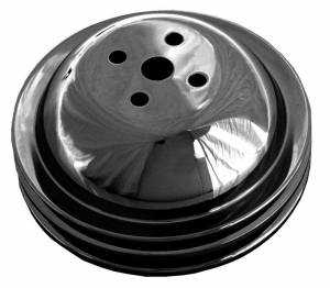 TRANS-DAPT #8615 BBC SWP Water Pump Pulley 2 Groove Black
