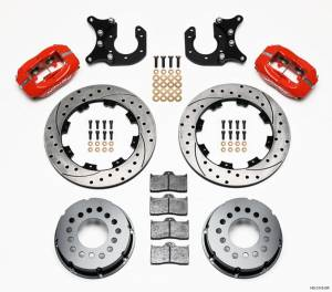 WILWOOD #140-2118-DR P/S Rear Disc Kit New Big Ford Drilled Red