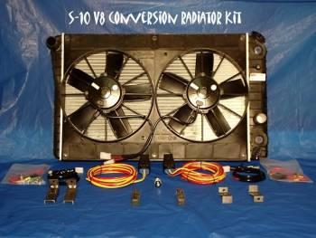 CAR SHOP INC #RADKIT1 S-10 V8 Conversion Radiator Kit/Fans